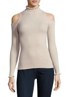 Rebecca Taylor Frilled Cold-Shoulder Wool Pullover