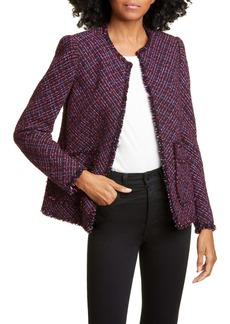 Rebecca Taylor Fringe Detail Cotton & Wool Tweed Jacket