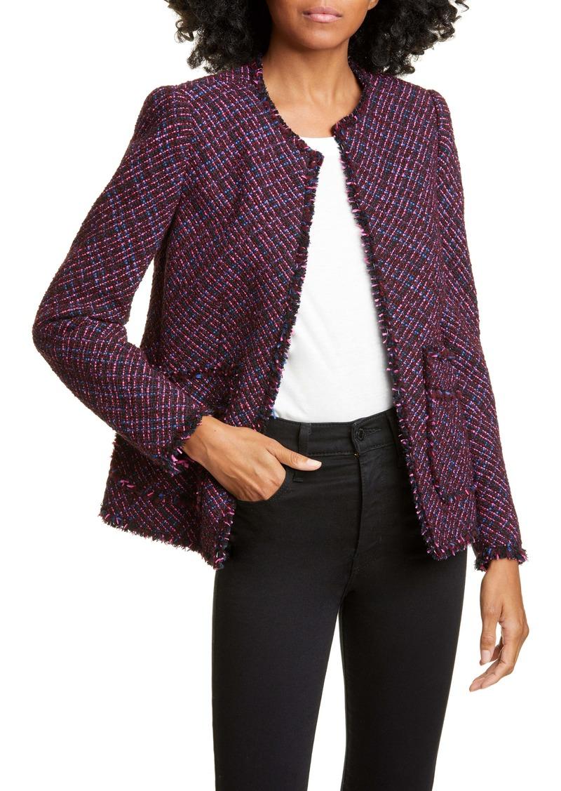 Rebecca Taylor Fringe Detail Cotton & Wool Tweed Jacket