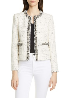 Rebecca Taylor Fringe Detail Cotton Blend Tweed Jacket