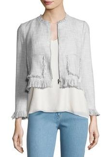 Rebecca Taylor Fringe-Trim Suiting Jacket