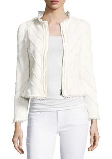 Rebecca Taylor Fringe Tweed Zip-Front Jacket