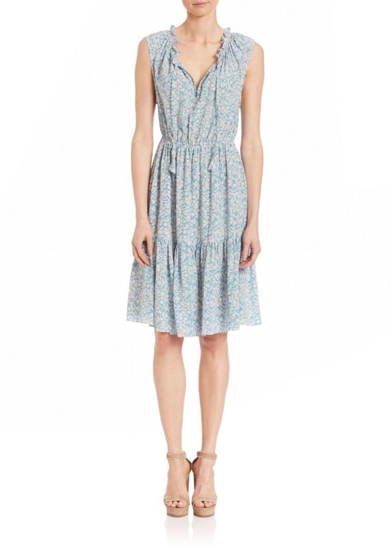 Rebecca Taylor Gathered V Neckline Silk Dress