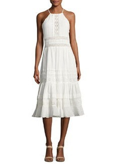 Rebecca Taylor Gauze Lace Sleeveless Midi Dress