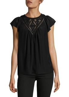 Rebecca Taylor Geometric Embroidered Silk Top