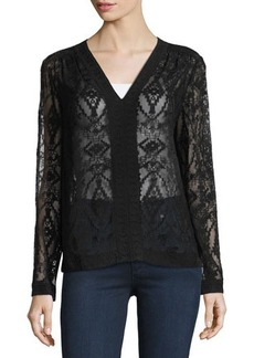 Rebecca Taylor Geometric-Lace Embroidered Top
