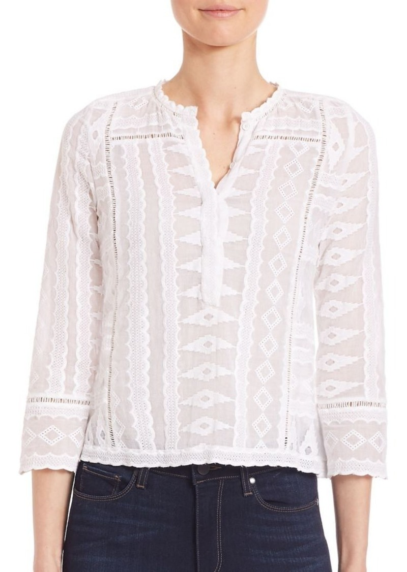 Rebecca Taylor Geometrical Embroidered Gauze Top
