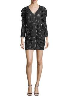 Rebecca Taylor Glitter V-Neck Long-Sleeve Sheath Mini Dress