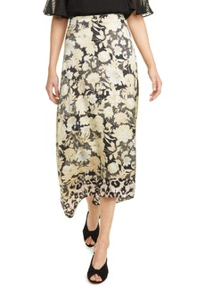 Rebecca Taylor Gold Leaf Floral Silk Skirt
