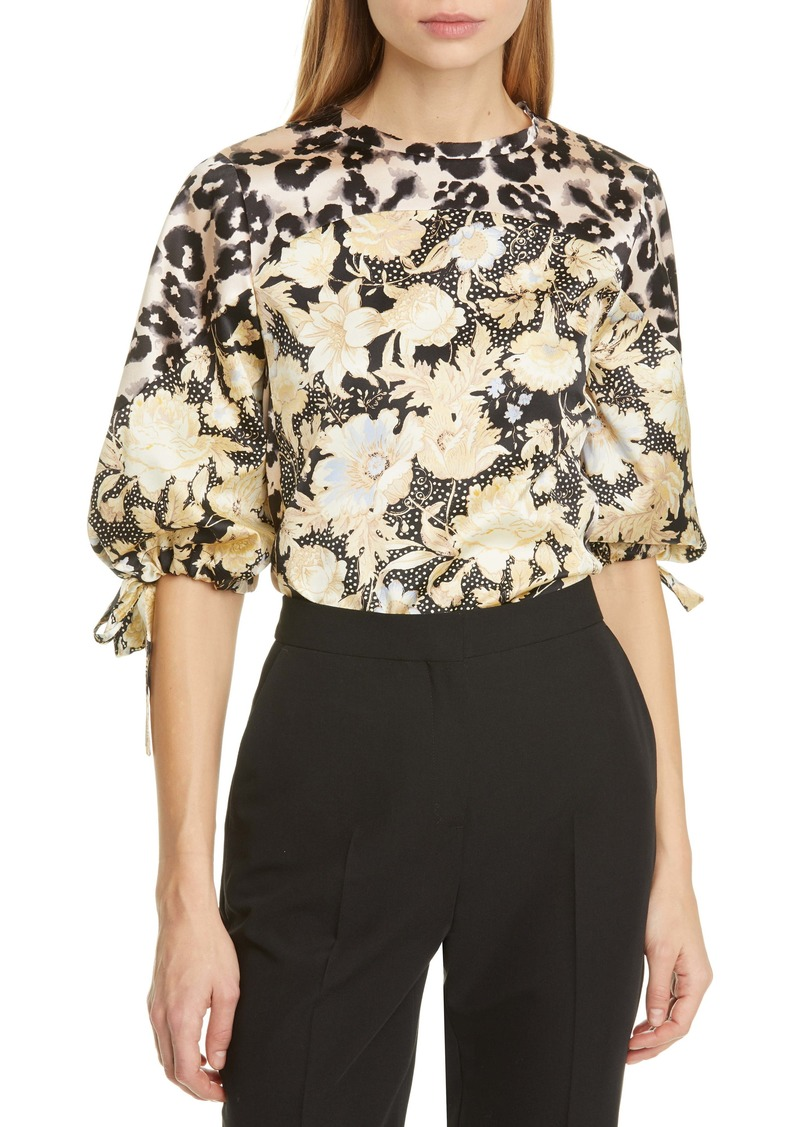 Rebecca Taylor Gold Leaf Mix Print Tie Sleeve Top