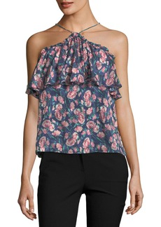 Rebecca Taylor Halter-Neck Sleeveless Rose-Print Tank Top