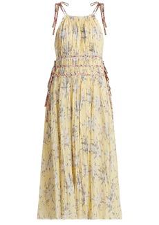 Rebecca Taylor Halterneck floral-print cotton-blend dress