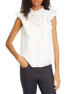 Rebecca Taylor Hana Embroidered Ruffle Sleeve Silk Top