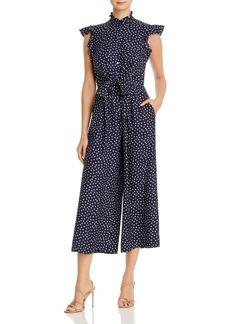 Rebecca Taylor Heart Print Tie-Waist Silk Jumpsuit