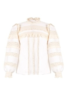 Rebecca Taylor High-neck lace-trimmed cotton blouse