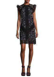 Rebecca Taylor High-Neck Sleeveless Ruffled-Trim Lace Mini Dress