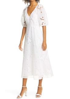 Rebecca Taylor Honeysuckle Eyelet Cotton & Silk Dress