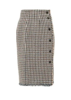 Rebecca Taylor Houndstooth-tweed cotton-blend skirt