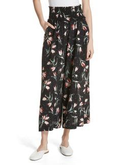 Rebecca Taylor Ikat Floral Stretch Silk Pants