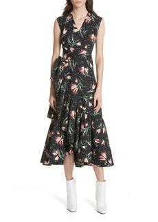 Rebecca Taylor Ikat Floral Wrap Midi Dress