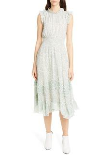 Rebecca Taylor Ikat Leaf Metallic Detail Cotton & Silk Dress