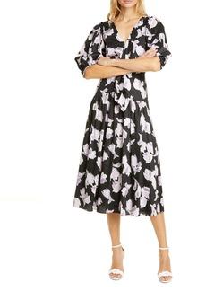 Rebecca Taylor Ikat Tie Front Midi Dress