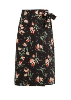 Rebecca Taylor Ikat tulip-print wrap skirt