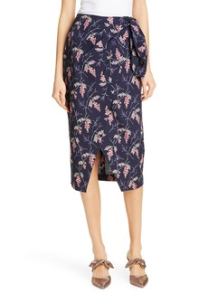 Rebecca Taylor Ivie Floral Wrap Style Cotton Midi Skirt