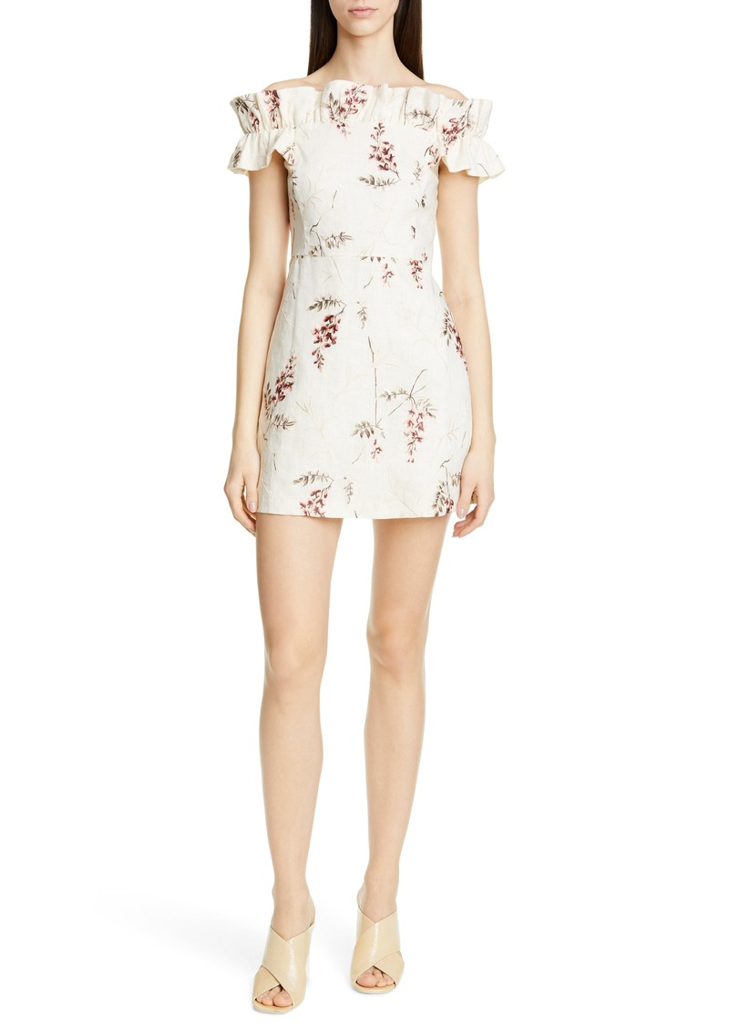 Rebecca Taylor Ivie Off the Shoulder Embroidered Detail Linen Dress