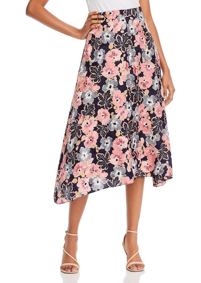 Rebecca Taylor Jardin Asymmetric Floral Midi Skirt