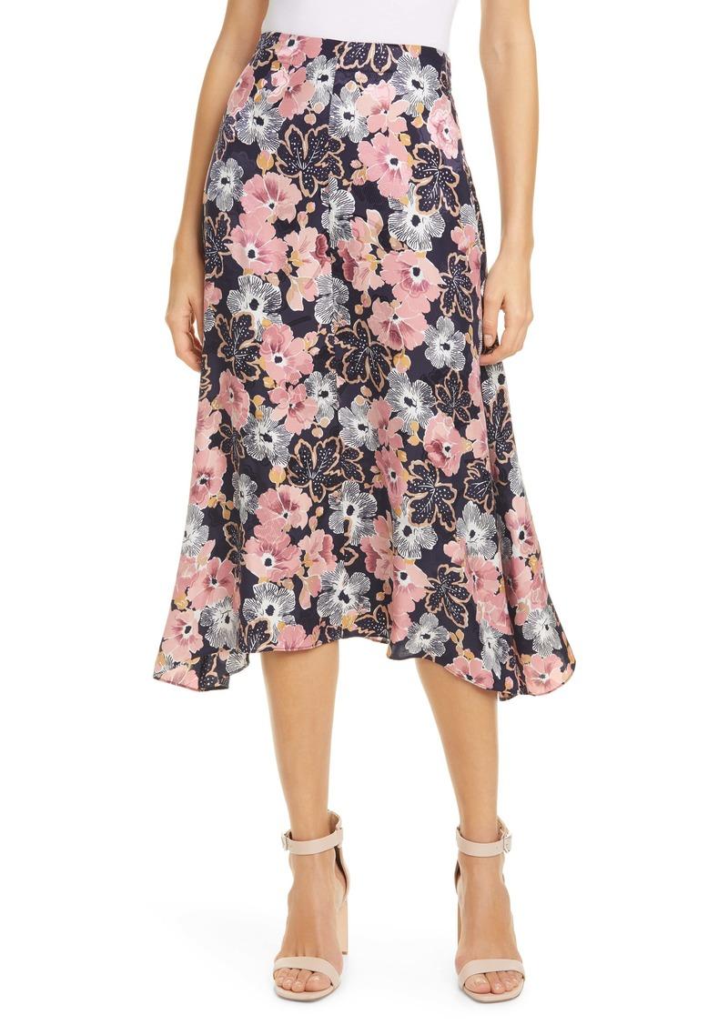 Rebecca Taylor Jardin Fleur Handkerchief Hem Silk Blend Skirt