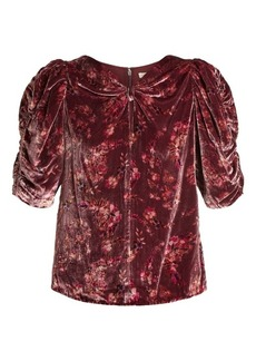 Rebecca Taylor Jewel ruched-sleeve floral-print velvet top
