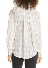 Rebecca Taylor Jules Textured Plaid Silk Blouse