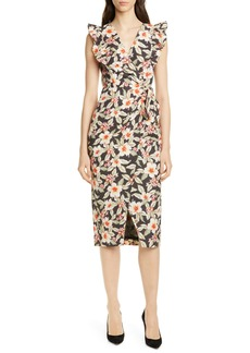 Rebecca Taylor Kamea Floral Faux Wrap Dress