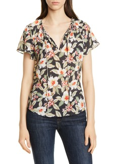 Rebecca Taylor Kamea Floral Stretch Silk Blouse