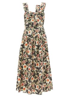 Rebecca Taylor Kamea hibiscus-print cotton midi dress