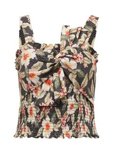Rebecca Taylor Kamea shirred floral-print cotton top