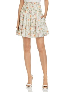 Rebecca Taylor Kamea Smocked Floral Mini Skirt