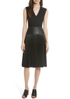 Rebecca Taylor Knit & Faux Leather Dress
