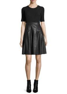 Rebecca Taylor Knit & Vegan Leather Dress