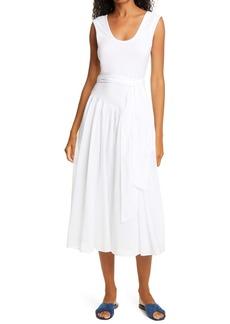 Rebecca Taylor Knit Bodice Cotton Voile Sleeveless Midi Dress