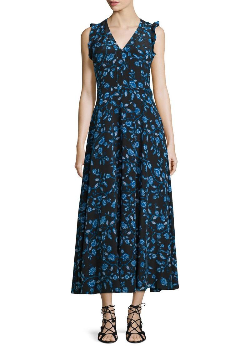 Rebecca Taylor Kyoto Sleeveless Floral Silk Midi Dress