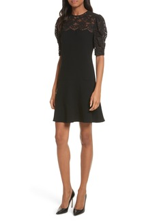 Rebecca Taylor Lace & Crepe A-Line Dress