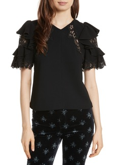 Rebecca Taylor Lace & Crepe Flutter Sleeve Top