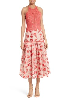 Rebecca Taylor Lace & Jacquard Midi Dress