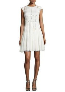 Rebecca Taylor Lace and Nailhead Detailed Cap-Sleeve Dress