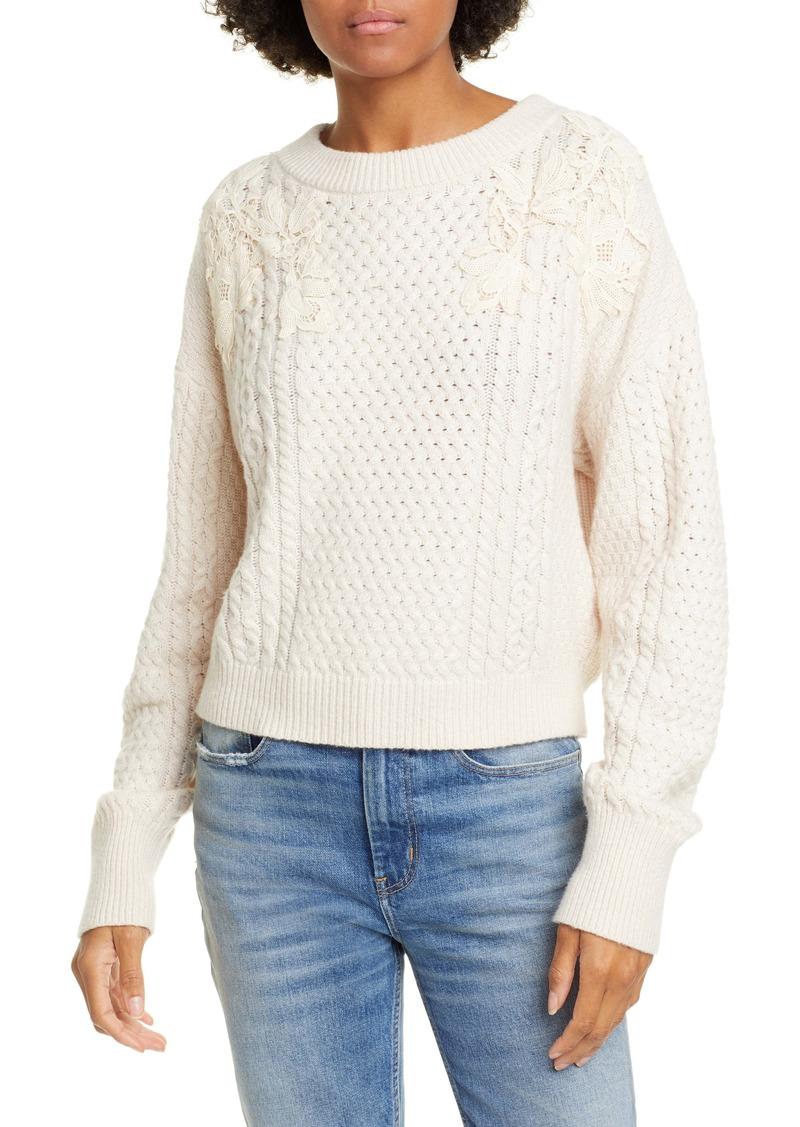 Rebecca Taylor Lace Appliqué Crewneck Sweater