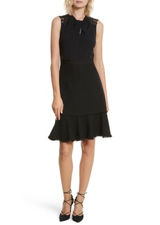 Rebecca Taylor Lace Back Crepe & Tweed Dress