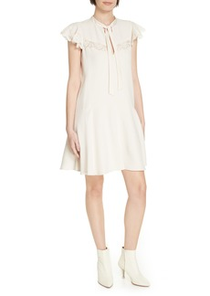 Rebecca Taylor Lace Detail Tie Neck Dress