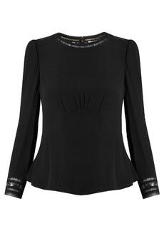 Rebecca Taylor Lace-insert peplum crepe blouse